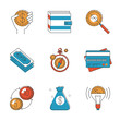 Finance and investment money line icons set