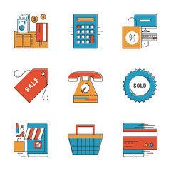 E-commerce and finance line icons set