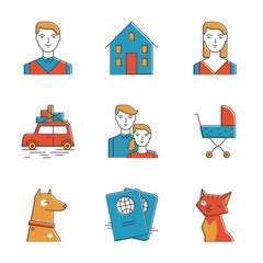 Cute family line icons set