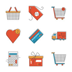 Shopping items line icons set