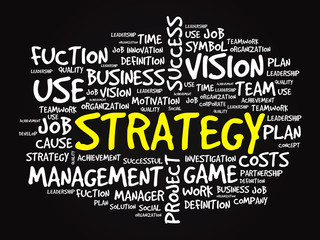 Hand drawn STRATEGY business concept in word tag cloud