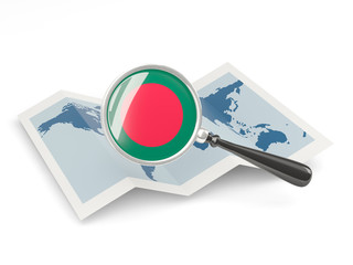 Magnified flag of bangladesh with map