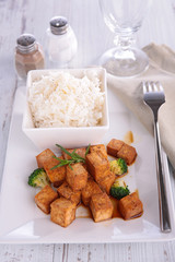 grilled tofu cooked with soy sauce