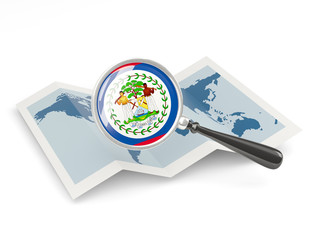Magnified flag of belize with map