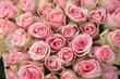 Pink roses in a wedding arrangement