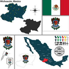 Map of Michoacan, Mexico