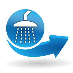 douche sur bouton web bleu