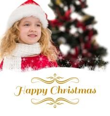 Composite image of festive little girl in santa hat and scarf