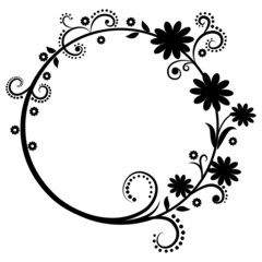Black and white floral round frame
