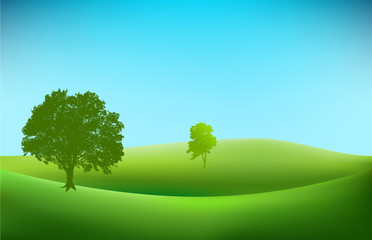 landscape background with tree silhouettes vector