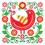 Fotoroleta Folk art vector pattern with bird and flowers