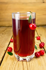 Compote cherry in tall glass on board