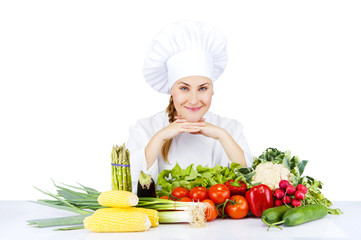 beautiful young chef woman prepare and decorating tasty food in