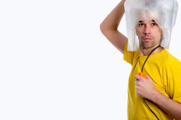crazy white man man with hair dryer