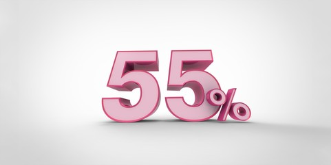 3D rendering of a pink  55 percent letters on a white background