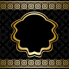 golden ornament on black background - vector
