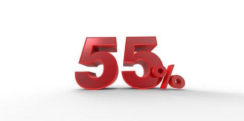 3D rendering of a red 55 percent letters on a white background