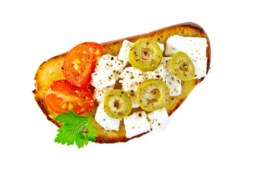 Sandwich with feta cheese and olives on top