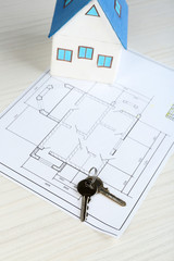 Key on house plan close-up