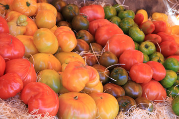 Tomatoes at a market stall