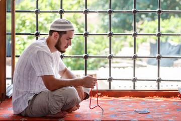 Muslim men in the mosque