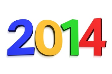 2014 in colourful letters