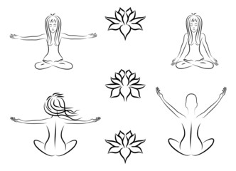 Set of silhouettes of meditating women