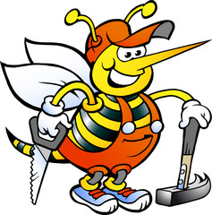 Happy Working Carpenter Bee with saw and hammer