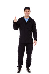 A security guard with a thumb up sign, isolated on white