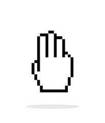 Three fingers. Pixel hand cursor icon on white background.