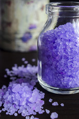 Small bottle of bath salt with lavender extract