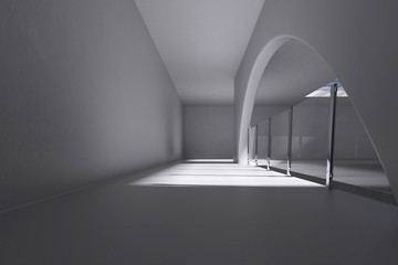 white interior hall