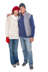 Happy couple in warm clothing