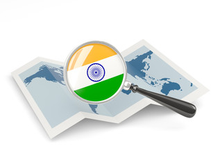 Magnified flag of india with map