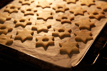 Christmas Linzer cookies in the oven