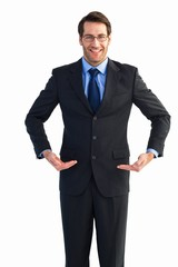 Businessman holding something with his hands