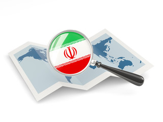 Magnified flag of iran with map