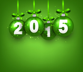 Realistic green christmas balls with 2015.