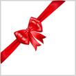 Red bow with diagonally ribbon