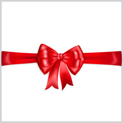 Red bow with horizontal ribbon