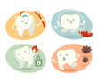 Cute tooth in different situations. Vector illustration. - 74529895