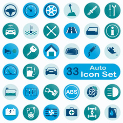 Set of round auto icons