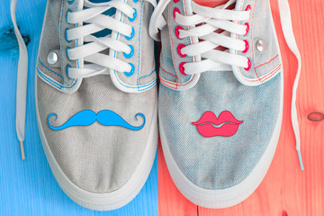 Jeans shoes with a mustache and lips