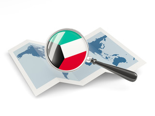 Magnified flag of kuwait with map