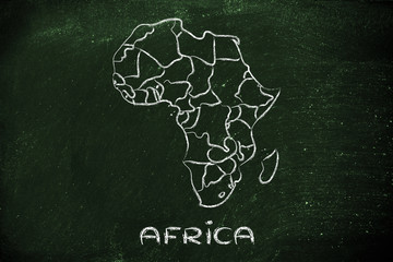 world map and continents: borders and states of Africa
