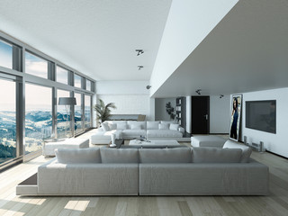 Living Room Area Inside Architectural House
