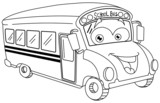 Outlined school bus cartoon - 74530438