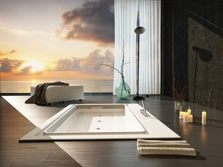 Romantic modern bathroom interior at sunset