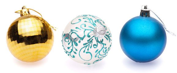 yellow, white, blue christmas balls on white background