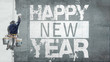 canvas print picture - Happy New Year on facade